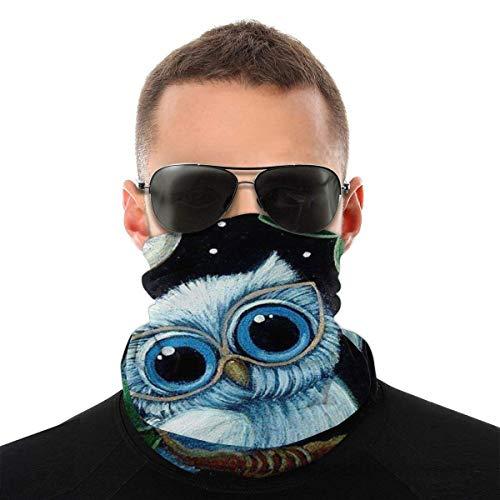 Máscara facial para hombres y mujeres, bonita máscara de búho, protección contra el sol, UV, polvo, viento, transpirable, bufanda para cuello, polaina, color blanco y negro
