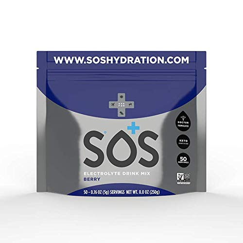 SOS Hydration Electrolyte Drink Mix Berry 50 Serving Pouch, 250 g