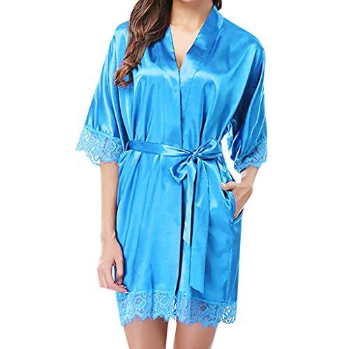 Damen Satin Negligee Nachthemd Nachtkleid Spitze Dessous Lingerie Nachtwäsche Marita
