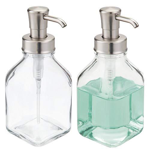 mDesign Juego de 2 dispensadores de jabón rellenables – Dosificadores de jabón...