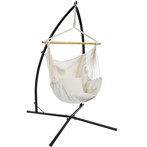 SONGMICS Hammock Chair with Stand, Large Swing Chair with 2 Cushions, Hanging Chair Stand, Holds up to 264 lb, for Balcony, Patio, Terrace, Beige UGDC189M01
