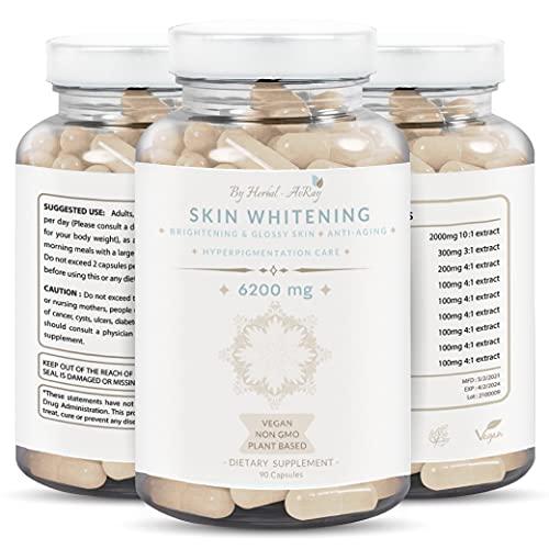 Glutathione Whitening Pills 6200mg – Natural Skin Lightening Pills with Collagen, Acne Scars & Dark Spot Remover, Skin Bleaching Supplement with Anti-Aging & Antioxidant Effect, 90 Vegan Capsules