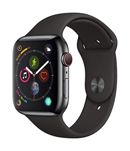 Apple Watch Series 4 (GPS + Cellular) con caja de 44 mm de acero inoxidable en negro espacial y correa deportiva negra