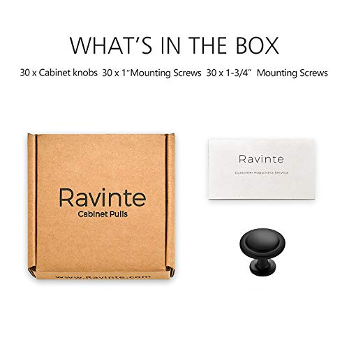 Ravinte 30 Pack 1-1/4 inch Kitchen Cabinet Knobs Drawer Knobs Dresser Knobs Matte Black Zinc Knobs Drawer Pulls Door Knobs Dresser Drawer Handles Knobs for Dresser Drawers