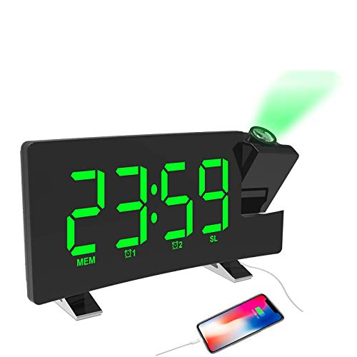 YUNYODA Despertador Proyector, Despertador de Proyección 7 Pulgadas Radiodespertadores Reloj de Digital con Brillo de 3 Niveles, Radio FM, Alarma Doble, 12/24 Horas, repetición