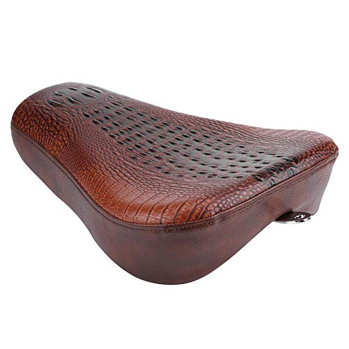 Motorcycle Seat Front Driver/Rear Passenger PU Leather Pillion Pad Cushion, Brown Crocodile Moto Spring Bracket Seat Saddle for Sportster 72 XL1200V 48 XL1200X(#1)