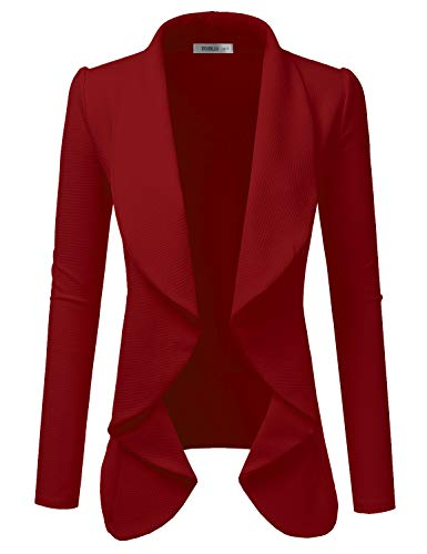 Doublju Classic Draped Open Front Blazer for Women with Plus Size RED S