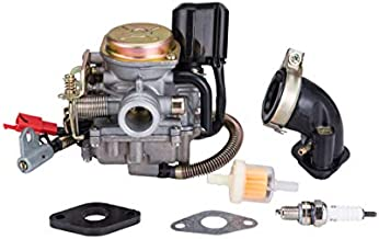 Hity Motor PD18J 18mm Carburetor for 4 Stroke GY6 49cc 50cc Chinese Scooter 139QMB Moped Engine for Taotao Kymco Scooter with Fuel Filter Spark Plug Intake Manifold and Adjusting Shims