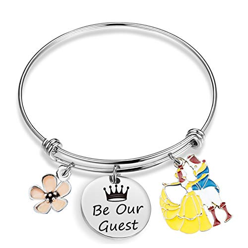 Pulsera inspirada en EIGSO Be Our Guest Charm Brazalete inspirado en Disney Bella y Bestia, joyería de la película, joyería de Disney, princesa y príncipe, pulsera de princesa y baile del príncipe