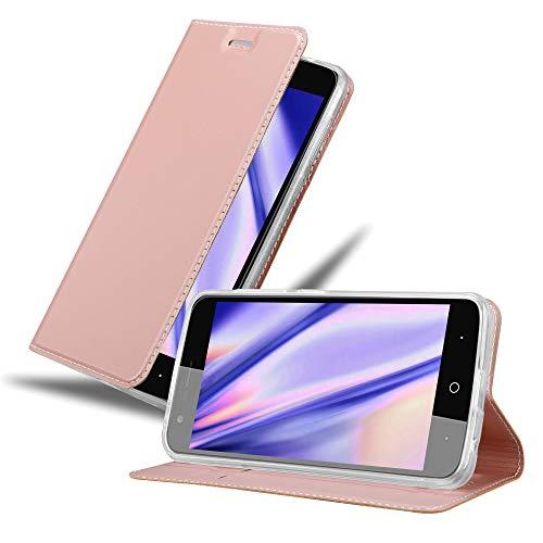 Cadorabo Hülle für ZTE Blade V8 Mini in Classy ROSÉ Gold - Handyhülle mit Magnetverschluss, Standfunktion & Kartenfach - Hülle Cover Schutzhülle Etui Tasche Book Klapp Style