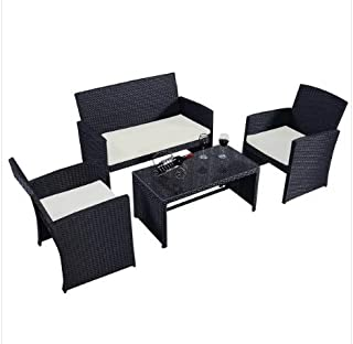 ModHaus Living Modern 4 Piece Black Cushioned Seat Rattan Wicker Patio Set with Tempered Glass Top