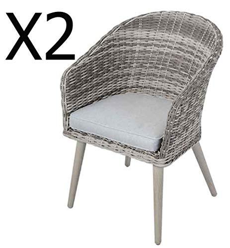 PEGANE Lot de 2 chaises de Jardin en résine avec Coussin - Dim : 59 x 62 x H85 cm