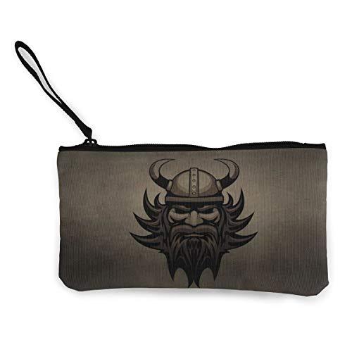 Wikinger-Bart-Helm-Kopf, Damen-Geldbörse, Kosmetiktasche, Make-up-Tasche, Reißverschluss, Geldbörse für Frauen, 11,4 x 21,6 cm
