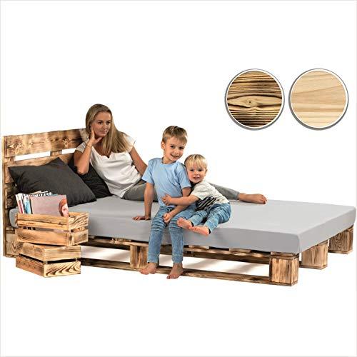 sunnypillow Palettenbett mit Kopfteil 140 x 200 cm Holzbett Bett aus Paletten Palettenmöbel Geflammt Vintage europalette