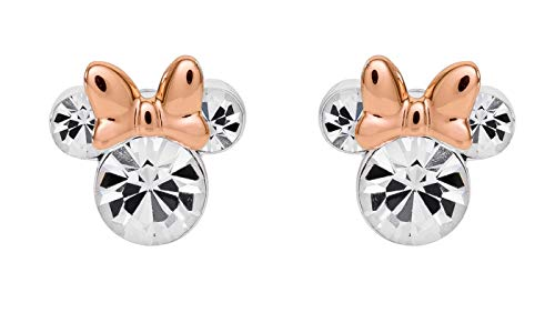 Disney Minnie Mouse Two Tone Silver Plated Crystal Stud Earrings;