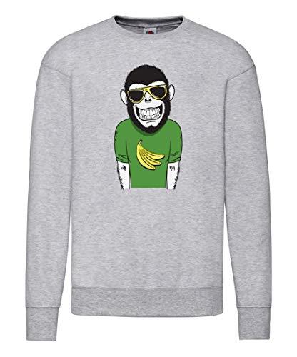 Druckerlebnis24 Pullover - Der Sonnig Lächelnde AFFE - Sweatshirt für Frauen und Damen