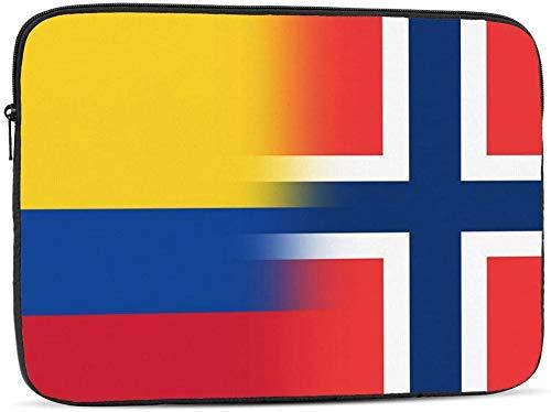 BONRI Kolumbien und Norwegen Flagge Laptop-Hülle Tasche Kompatibel mit 10-17 Zoll lustige Computer-Tasche Laptop-Tasche-Kolumbien und Norwegen Flagge , 13inch
