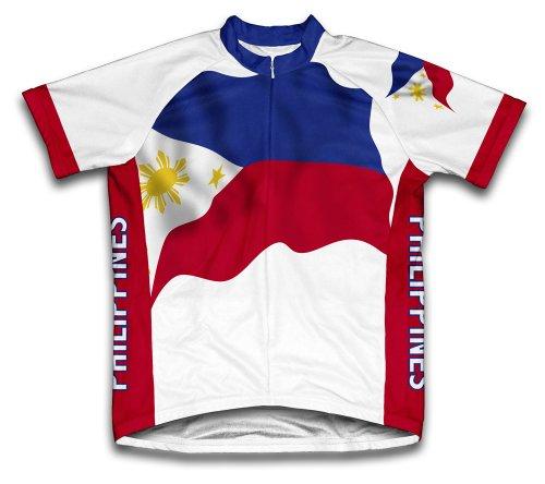ScudoPro Philippines Flag Maillot Cycliste à Manches Courtes pour Hommes -