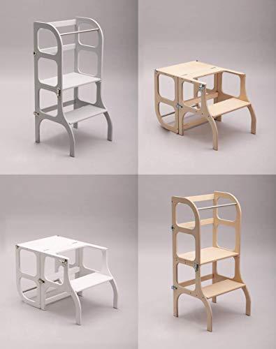 """Multifunktionaler Lernturm""""Step'n sit"""" nach Montessori in Weiß/Tisch und Küchenhelfer in Einem/CE-Zertifiziert/Made in EU (Weiß)"""