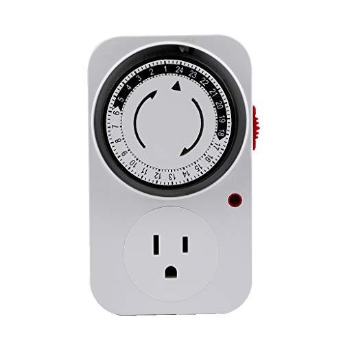 zrshygs Interruptor de Temporizador cíclico de 24 Horas, Temporizador de Cocina, Bucle de Salida, Enchufe de sincronización Universal