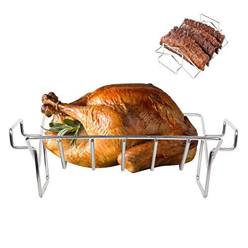 KAMaster Kamado Grill Rib Rack for Smoking and Grilling V-Shaped Turkey Roasting Rack for Large Big Green Egg,Kamado Joe