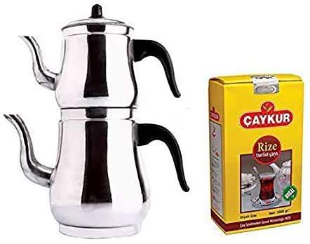 Tetera de aluminio para té turco Caydanlik de gran tamaño de regalo 500 g de té negro turco
