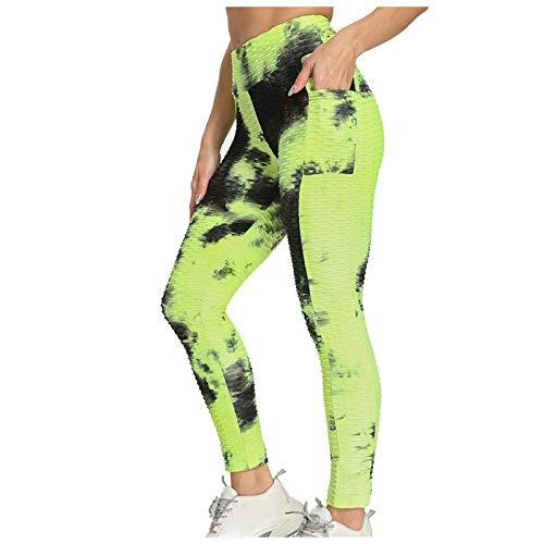 SHOBDW Pantalón Deportivo de Mujer Cintura Alta Leggings Teñido Anudado Mallas para Running Training Fitness Estiramiento Zumba Yoga y Pilates Pantalón Medio(Negro,XL)