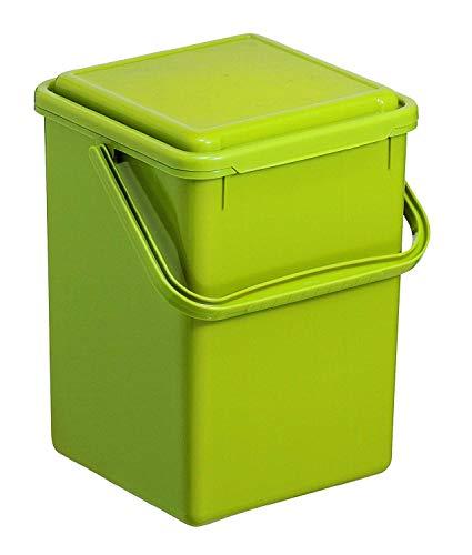 Rotho Bio Grande compostiera 9l con coperchio e manico per la cucina, Plastica PP senza BPA, Verde, 9l 23.0 x 22.5 x 28.0 cm