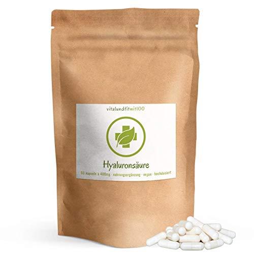 Hyaluronsäure Kapseln - 60 Stück à 400 mg - hochdosiert - gewonnen aus Fermentation - 800-1200 kDa (mikro-molekular) - laborgeprüft - 100% vegan - glutenfrei - OHNE Hilfs- u. Zusatzstoffe