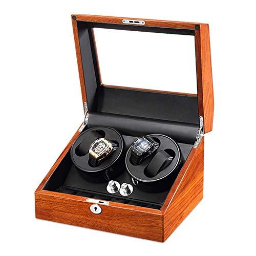 SGSG Caja enrolladora de 4 Relojes de Cuero PU para Relojes automáticos con 6 almacenamientos y Motor silencioso, 5 Modos de rotación, Almohada Suave y Carga de 3 vías