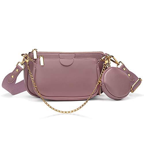 YALUXE Borsa a tracolla Borsetta donna 2 Tasca con cerniera e portamonete Pelle sintetica Fashion Rosa antico