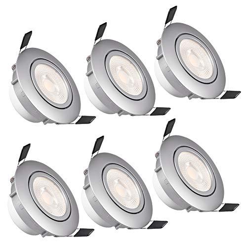WZTO Foco Empotrable LED Techo, GU10 LED 5W 3000K 480Lumen Ángulo Rotable 30° Ojos de Buey Marco Redondo Esmerilado Foco Empotrable para Sala de Estar, Oficina, Baño, Cocina