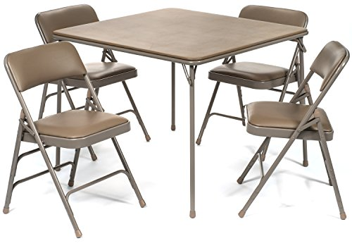 XL Series Vinyl Folding Card Table and Chair Set (5pc) - Comfortable Padded Upholstery for Easy Cleaning - Fold Away Design, Quick Storage and Portability, Premium Quality (Beige)