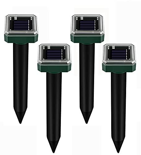 Solar Maulwurfabwehr,Koqit 4 Stück Ultrasonic Solar Maulwurfschreck, Wühlmausvertreiber, Wühlmausschreck, Mole Repellent, Maulwurfbekämpfung mit IP56 Wasserdicht für Den Garten (Grün 01)