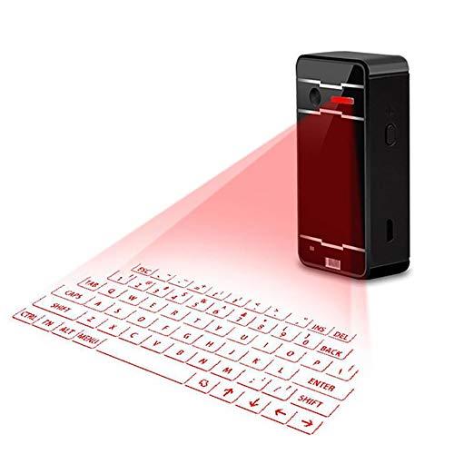 QOUP Teclado Virtual de proyección inalámbrica, diseño portátil Mini Teclado inalámbrico para teléfonos Inteligentes y tabletas, Ordenadores portátiles, PC,Negro