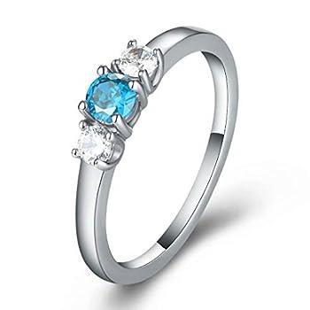 Hewayiu Birthstone Rings Cubic Zirconia Stainless Steel Birth Month Jewelry for Women Kids Dec 9