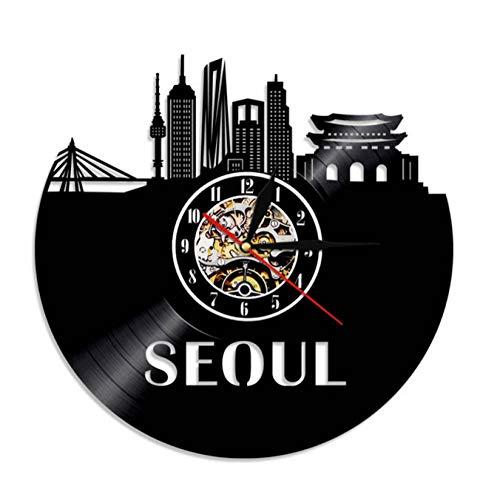 tyjsb Reloj de Pared Decorativo para el hogar con decoración de Pared de Arquitectura de Seúl, Reloj de Pared con Registro de Vinilo Hecho a Mano de Seúl, Regalo de Viaje de Corea del Sur