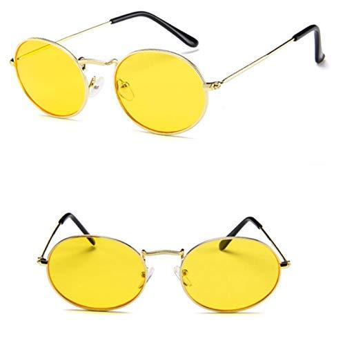 NJJX Gafas De Sol Retro Ovaladas Para Mujer, De Lujo, Vintage, Pequeño, Negro, Rojo, Amarillo, Gafas De Sol, Montura Ovalada Para Mujer,Amarillo