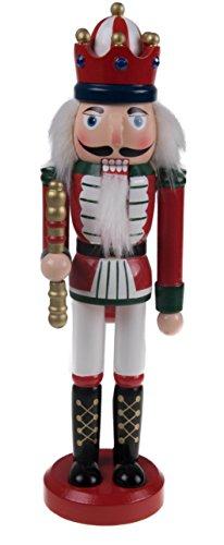 Clever Creations - Cascanueces Tradicional de Navidad Coleccionable - Combinable con Cualquier Estilo - 100% Madera - Rey con Uniforme Tradicional Rojo con cetro - 25,4 cm