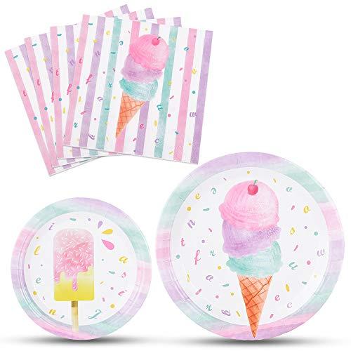 💫【Dulce fiesta de verano】 -- Echas de menos el helado que comiste con amigos o familiares el verano pasado? Ahora. Celebremos y celebremos con nuestro juego de vajilla de helado dulce. Helado dulce y paletas en los coloridos platos y servilletas. Lo ...
