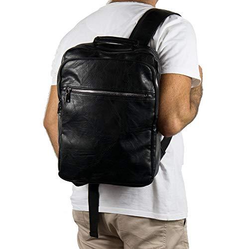 Zaino nero vintage grande da uomo lavoro viaggio università business zainetto moto ufficio elegante borsa a spalla donna squadrato leggero scuola con zip di moda Nero