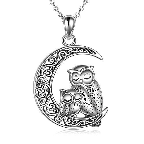 Owl Necklaces For Women Sterling Silver Celtic Knot Mother Daughter Owl Pendant Crescent Moon Pentagram Amulet Jewelry Gifts For Owl Lovers