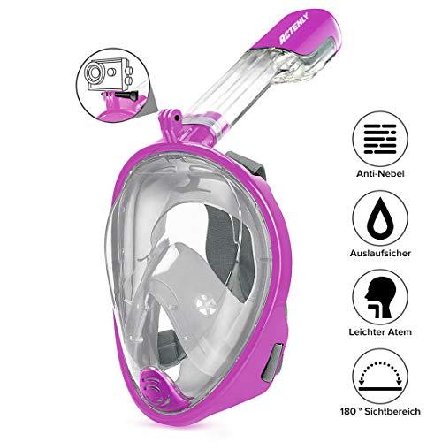 ACTENLY Schnorchelmaske Vollmaske Faltbare Tauchmaske Vollgesichtsmaske mit 180° Sicht und Action Kamera-Halterung, Müheloses Atmen, Kein Beschlagen, für Erwachsene & Kinder (Lila, L/XL)