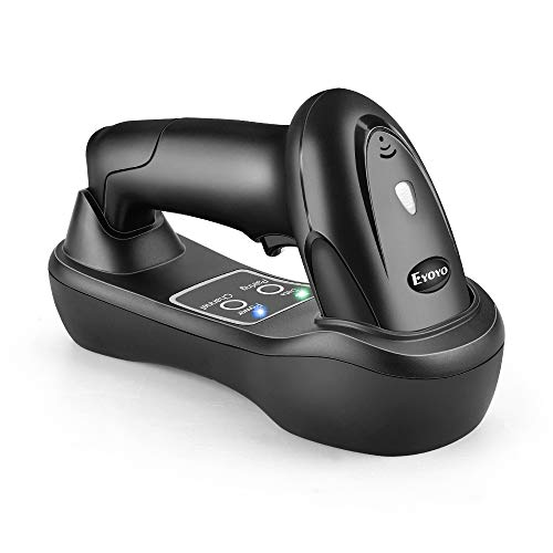 Eyoyo Wireless Barcode Scanner with USB Cradle Charging Base, 492ft Long Transmission Handheld 1D Cordless Barcode Reader Portable Bar Code Scanning for Bookstore Retail Supermarket Warehouse barcode scanner usb