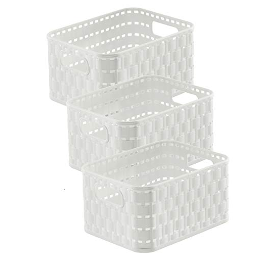 Rotho Country 3er-Set Aufbewahrungskörbe 2 l, Kunststoff (PP), Weiß, 2 Liter (18,3 x 13,7 x 9,8 cm)