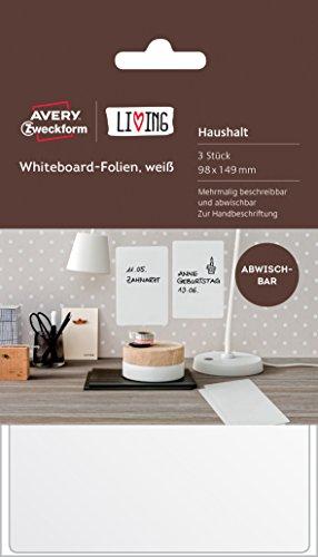 AVERY Zweckform 62013 Living Whiteboard Folien (beschreibar und abwischbar, 98 x 149 mm) 3 Stück weiß