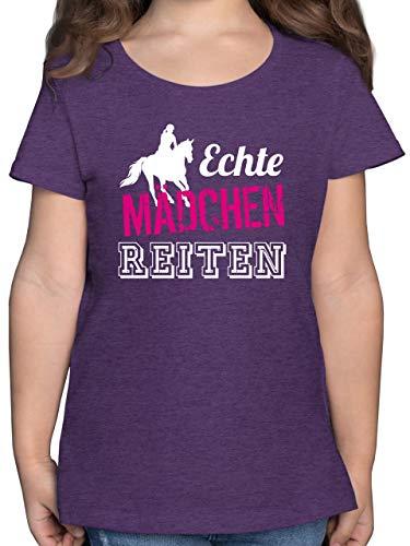 Sport Kind - Echte Mädchen reiten - 164 (14/15 Jahre) - Lila Meliert - Reiter Tshirt mädchen 128 - F131K - Mädchen Kinder T-Shirt