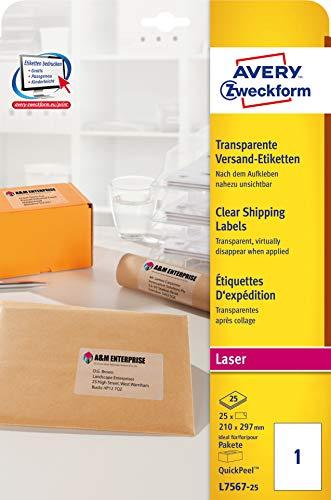 AVERY Zweckform L7567-25 transparente Versandetiketten/ Versandaufkleber (25 Etiketten, 210 x 297 mm auf DIN A4, bedruckbar, selbstklebend, für Pakete, Päckchen und Versandrollen) 25 Blatt