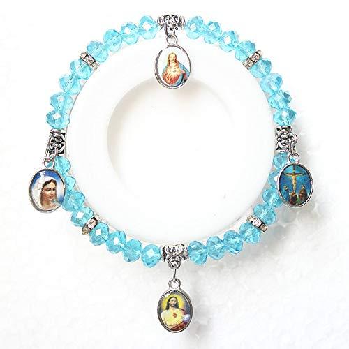 ZUXIANWANG Cuerda De Mano,Moda Jesús Virgen María Charms Perlas De Cristal Pulseras Cristianas Femme para Chicas Mujeres Amistad Joyería De Verano Azul