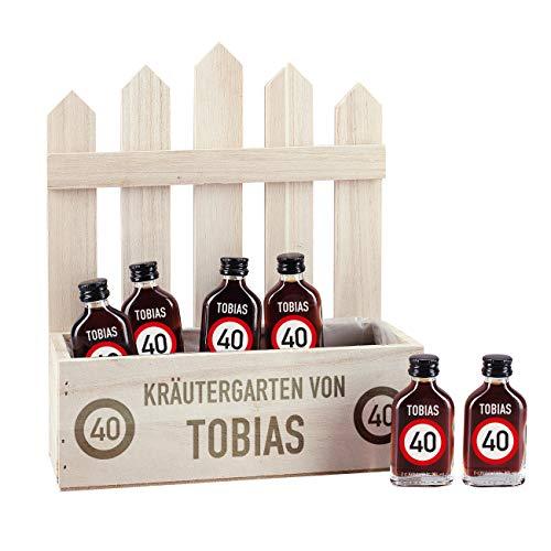 Herz & Heim® Mini Kräutergarten für Männer - Geschenkidee mit Alkohol - 6 Kräuterliköre - personalisiert mit Namen und Alter